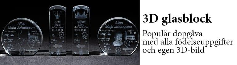 3D Glasblock - krystall med namn - Unikabarn.se