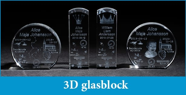 3D glasblock med namn - UnikaBarn.se